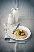 Risotto with a stuffed courgette flower and baked veal sweetbreads