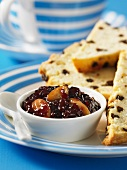 Cherry spread and raisin bread