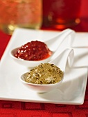 Kir Royal jelly and wine jelly on spoons