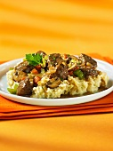 Beef and mushroom ragout with mashed potatoes