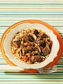 Braised beef nicoise on orzo pasta