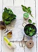Various types of lettuce, kitchen twine and honey