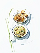Grilled tofu kebabs and bulgur wheat salad with pineapple