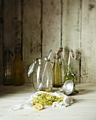 Ingredients and equipment for elderflower syrup