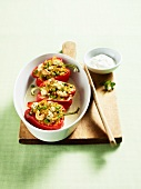 Pepper halves filled with couscous and cashew nuts