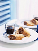 Baklava rolls filled with chocolate and nuts