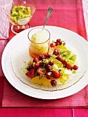 Fruit salad with citrus sugar and lemon sorbet