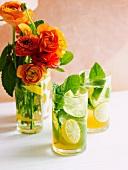Punsch mit weißem Rum, Zitrusfrüchten und Minze