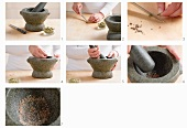 Cardamom seeds being removed from the pods and ground in a mortar
