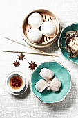 Dim Sum; Custard Filled Steamed Buns, Sticky Rice in Lotus Leaf and Shrimp and Chive Dumpling