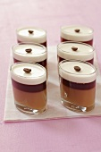 Layered dessert with coffee jelly, coffee liqueur and cream jelly