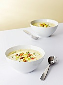 Potato and leek soup with bacon