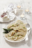 Pierogi filled with lentils and mushrooms for Christmas