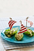 Lettuce leaf boats filled with avocado and egg salad