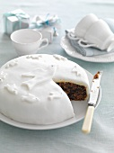 Fruit cake with white icing