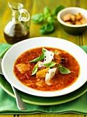 Zuppa di pomodori (tomato soup with croutons, Italy)