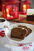 Two slices of spiced cake for Christmas