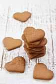 A stack of heart-shaped gingerbread biscuits