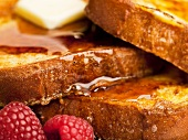 French Toast with Maple Syrup and Raspberries; Close Up