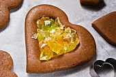 A gingerbread heart filled with crushed fruit sweets