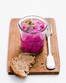 Herring salad in a glass