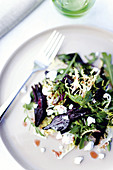 Beetroot salad with cream goat's cheese and a balsamic vinegar vinaigrette