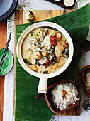 Sayur lemack (Malaysian vegetable in coconut milk) with coconut rice