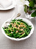 Pea and bean salad and hazelnuts