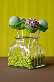 Cake pops with green paper cases