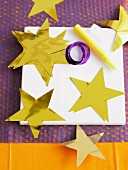 Stars made of gold paper