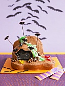 A bat cave cake for Halloween