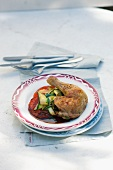 Spring chicken with courgettes and tomatoes