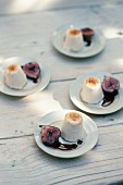 Champagne and cream parfait with cassis figs