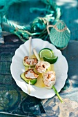 Monk fish and lemon grass kebabs in a lime sauce