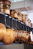 Copper pots in a commercial kitchen