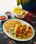 Hard Shell Tacos with Guacamole and Mexican Rice; Chips with Salsa