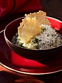 Risotto with herbs and parmesan shavings
