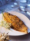 A small sole with a hazelnut and rosemary crust