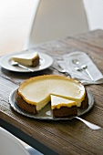 A plain cheese cake, slice