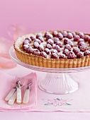 Raspberry tart with icing sugar on a cake stand