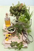 An arrangement of fresh herbs, pansies and oil