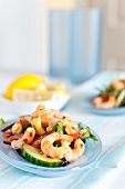 King prawn salad with chilli sauce
