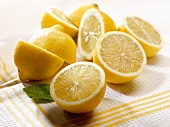 Lemon halves on a tea towel