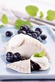 Sweet ravioli with blueberries (Polish dessert)