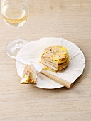 Layered goose liver and apple cake