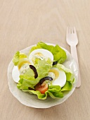 A salad with eggs and herb mayonnaise