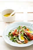Sorrel salad with bacon, egg and croutons