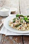 Barley risotto with green asparagus