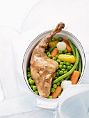 Leg of rabbit with spring vegetables