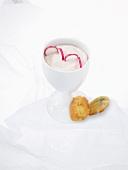Radish cream and cheese madeleines